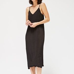 LACAUSA Black Midi Slip Dress